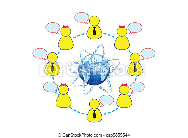 concept, gestion réseau, global, illustration, vecteur, social, amis - csp5855544