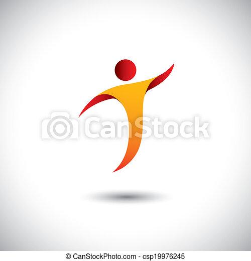 concept, graphic., sports, aérobic, filer, personne, -, aussi, danse, yoga, danse, illustration, icône, mouche, représente, aimer, ceci, etc, vecteur, acrobaties, activité, gymnastique - csp19976245