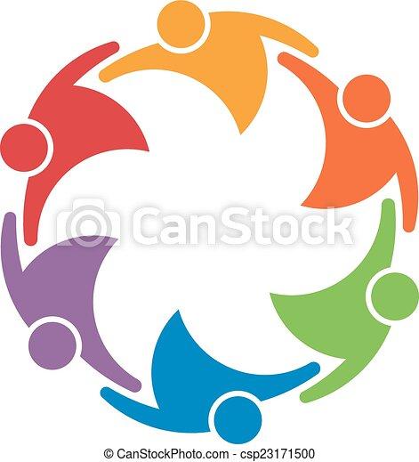 concept, groep, mensen, unie, werken, 6, team, circle. - csp23171500
