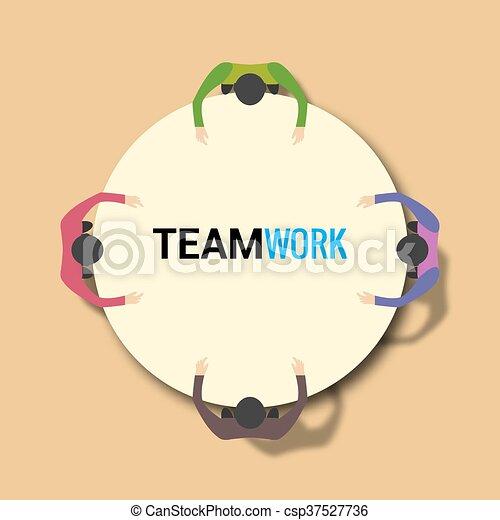 concept, groupe, bureau fonctionnant, gens, travail, equipe affaires, table. - csp37527736