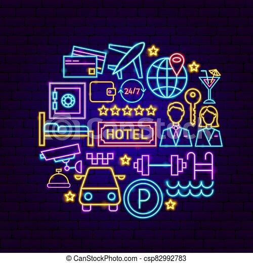 concept, hôtel, néon - csp82992783