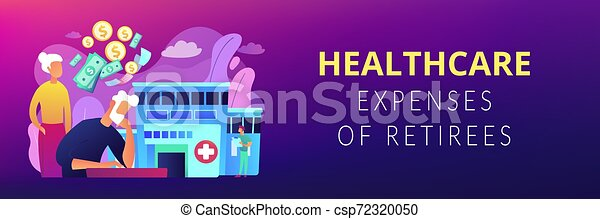 concept, header., kosten, gezondheidszorg, spandoek, pensioentrekkeren - csp72320050