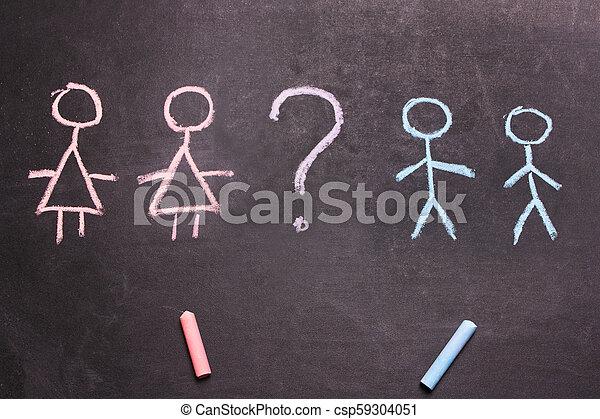 concept, hommes, craie, figures, dessiné, femmes - csp59304051