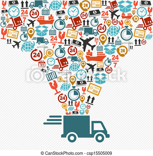 concept, illustration., icônes, livraison rapide, ensemble, camion, expédition - csp15505009