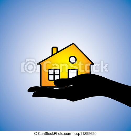Concept illustration of buying/selling of house/home. This can represent concept of buyer buying/selling a residential property from/to a real estate agent or from/to another owner owning the asset - csp11288680