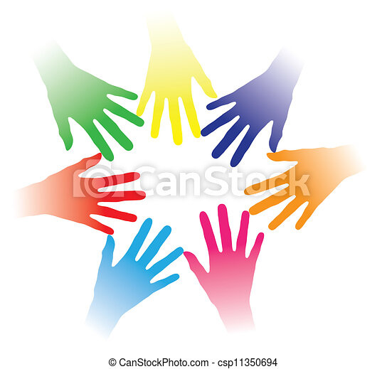 Concept illustration of colorful hands held together indicating social networking, team spirit, people bonding, multiracial group of people, partnership, helping each other, community of people, etc. - csp11350694