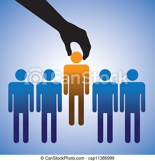 Concept illustration of hiring the best candidate. The graphic shows company making a choice of the person with right skills for the job among many candidates  - csp11386999