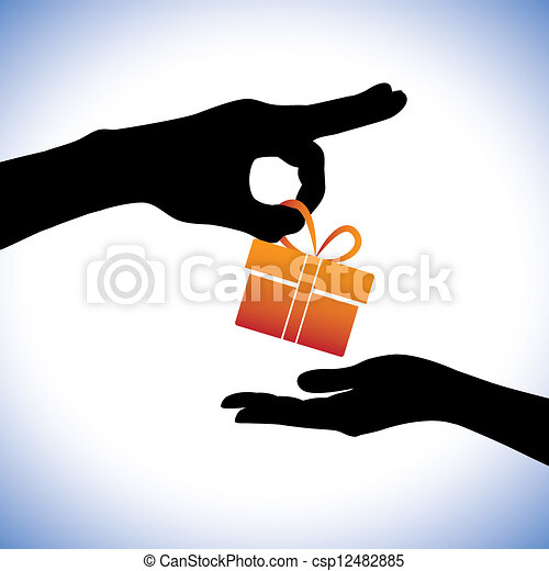Concept illustration of person giving gift package to the receiver. This graphic represents gifting times like christmas(xmas), birthday, anniversaries and other such occasions - csp12482885