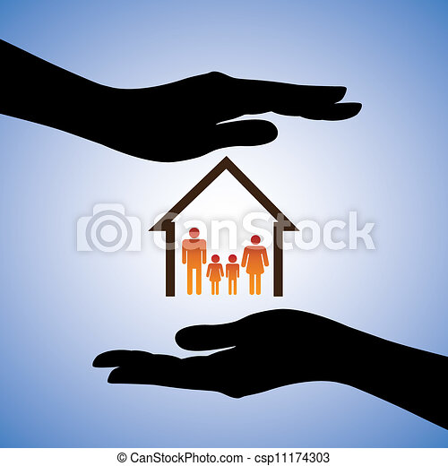 Concept illustration of safety of house and family. The graphic contains symbols of home/residence and parents/children covered by female hand silhouettes. This can represent concepts like insurance - csp11174303