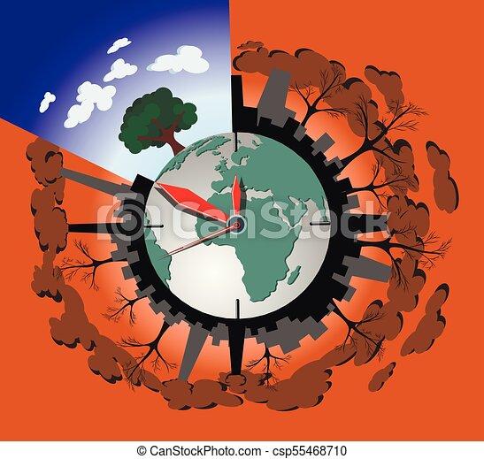 Concept Illustration Planète Vecteur écologie La Terre Pollution