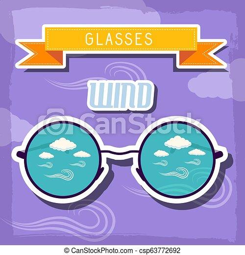 concept., ilustração, vetorial, desenho, retro, fundo, tempo, óculos - csp63772692