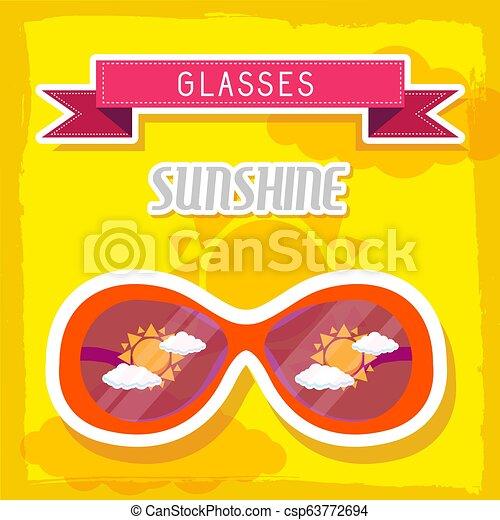 concept., ilustração, vetorial, desenho, retro, fundo, tempo, óculos - csp63772694