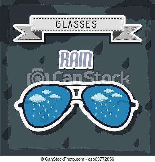 concept., ilustração, vetorial, desenho, retro, fundo, tempo, óculos - csp63772656