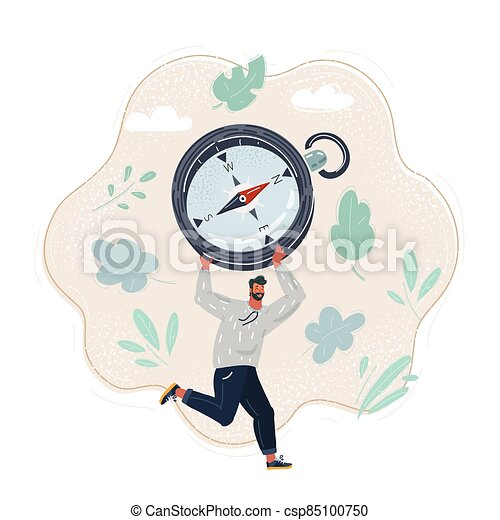 concept., ilustración, compass., derecho, directon, hombre, corra, caricatura - csp85100750