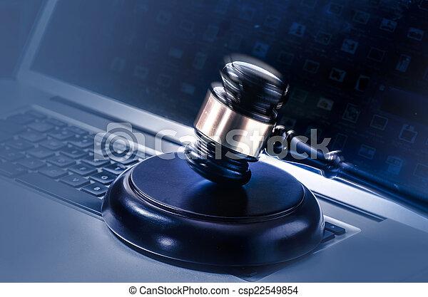 concept, image, légal, lapto, marteau, droit & loi - csp22549854