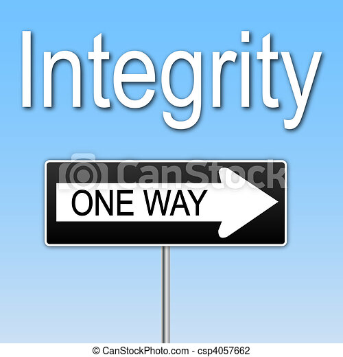 "Concept image of ""Integrity"" with a one way sign. - csp4057662"