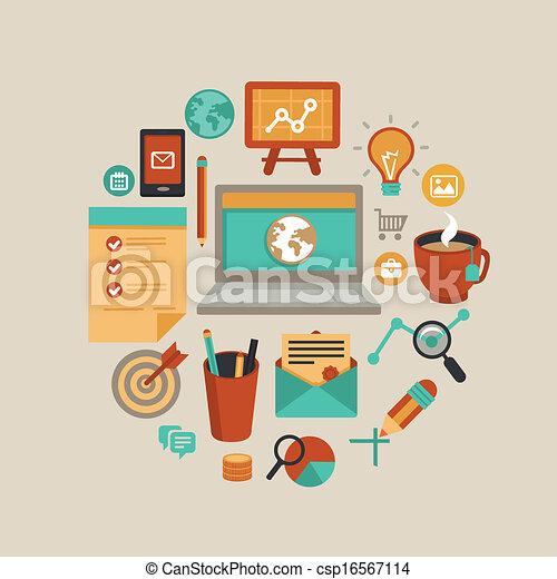concept, indépendant, travail, vecteur - csp16567114