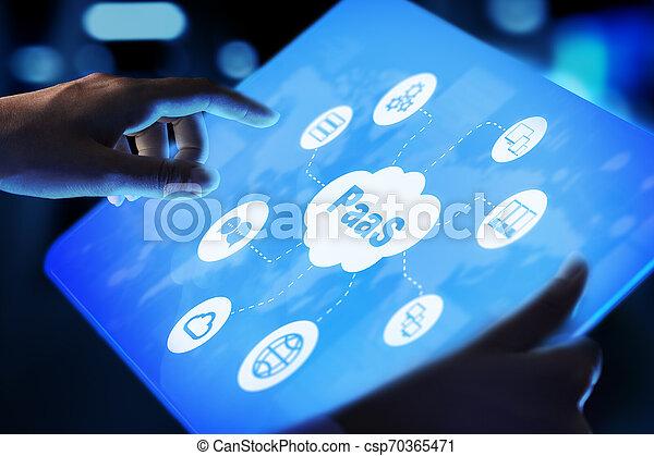 Paas - plataforma como un servicio, tecnología de Internet y el concepto de desarrollo. - csp70365471