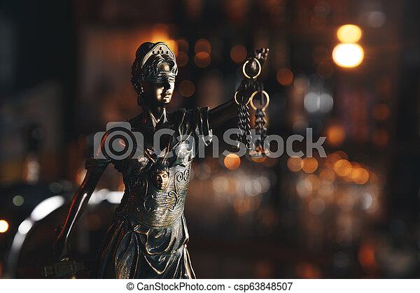concept, justice, légal, symbole, statue, droit & loi - csp63848507
