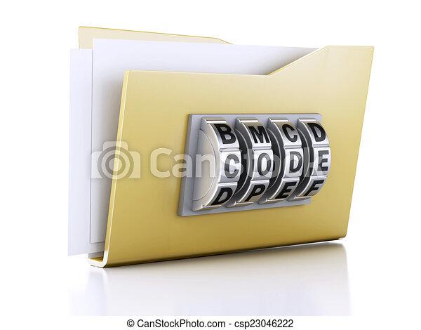 concept., lock., abbildung, sicherheit, daten, büroordner, 3d - csp23046222