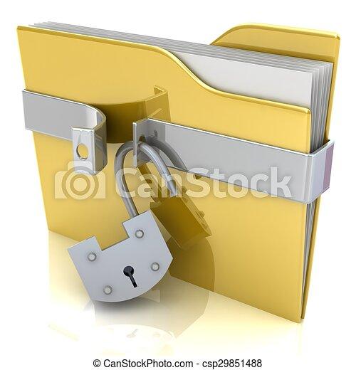 concept., lock., gelber , sicherheit, daten, büroordner - csp29851488