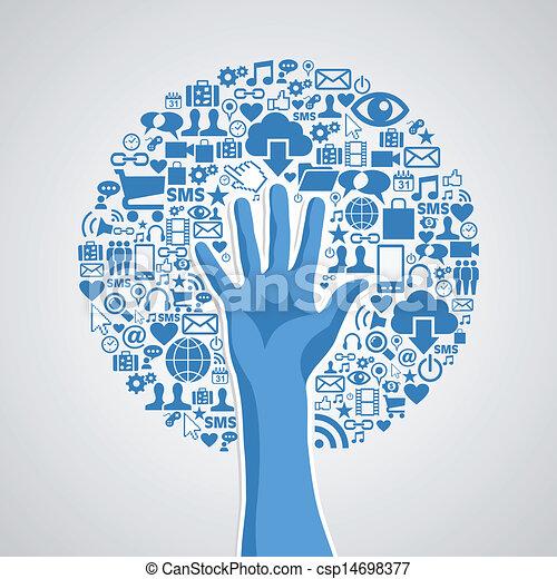 concept, média, arbre, main, social, réseaux - csp14698377