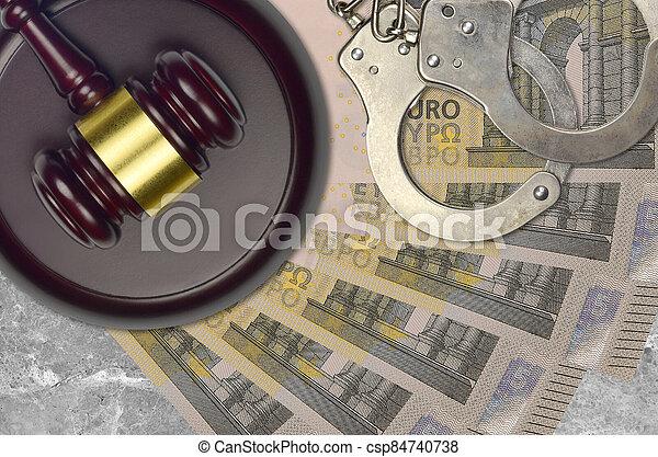 concept, menottes, judiciaire, ou, factures, 5, juge, tribunal, police, action éviter, impôt, euro, desk., bribery., procès, marteau - csp84740738