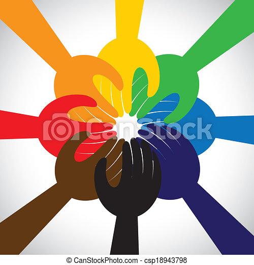 concept, mensen, teamwork, gelofte, beloven, groep, -, ook, cirkel, eenheid, handen, solidariteit, vertegenwoordigt, belofte, grafisch, dit, boeiend, verplichting, vector, icon., vriendschap, of - csp18943798