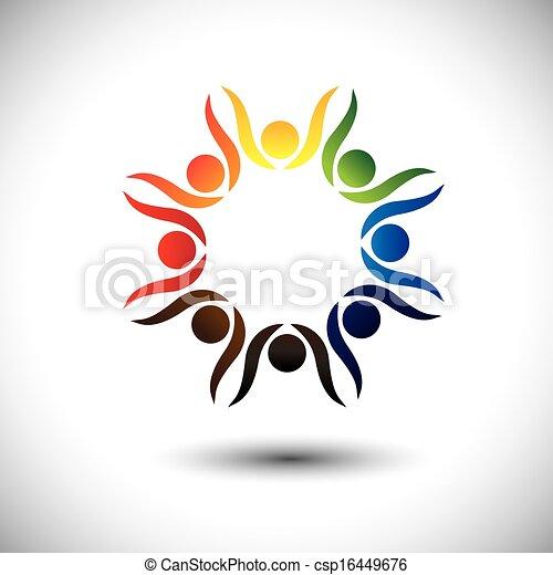 concept, mensen, vieren, levendig, kinderen, ook, feestje, cirkel, opgewekte, dancing, kleurrijke, friendship., spelend, geitjes, vrienden, vertegenwoordigt, school, grafisch, mensen, werknemers, vector, of - csp16449676