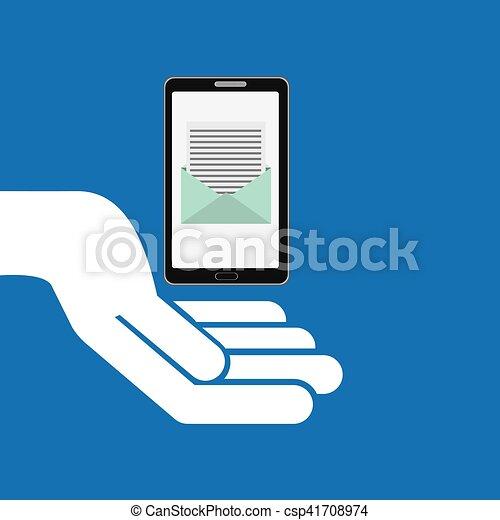 concept, message, smartphone, email, icône - csp41708974