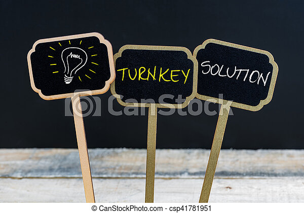 Concept message TURNKEY SOLUTION and light bulb as symbol for idea - csp41781951