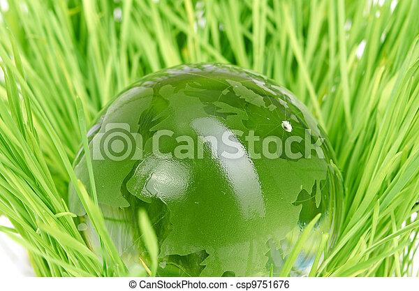 concept, milieu, globe, gras, glas - csp9751676
