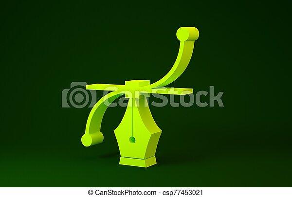 concept., minimalism, pictogram, illustratie, icon., achtergrond., bezier, groene, werktuig, gele, 3d, vrijstaand, render, bocht, pen - csp77453021