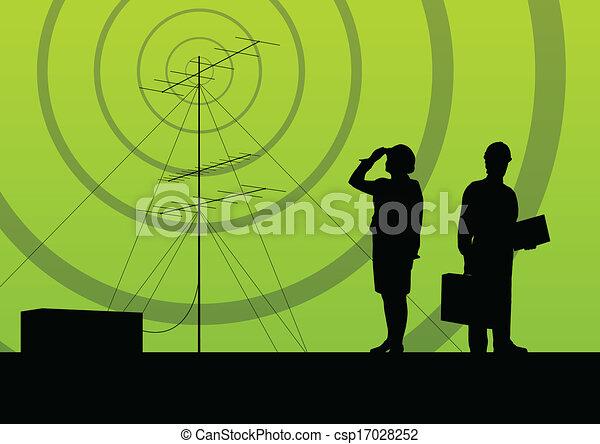 concept, mobile, télécommunications, téléphone, base, radio, fond, station, tour, ou, ingénieurs - csp17028252