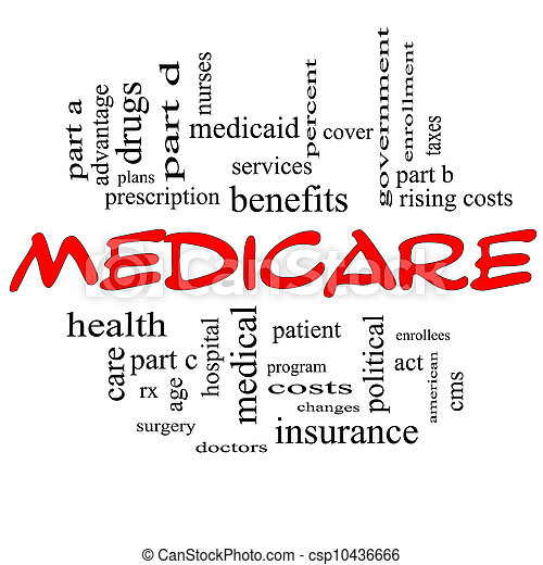 concept, mot, casquettes, assurance-maladie, nuage, rouges - csp10436666