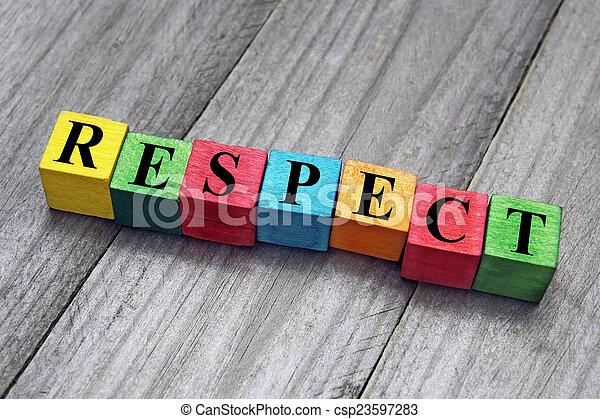concept, mot, coloré, bois, cubes, respect - csp23597283