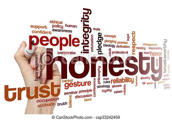 concept, mot, honnêteté, nuage - csp33242459