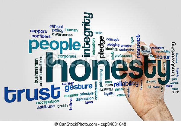 concept, mot, honnêteté, nuage - csp34031048