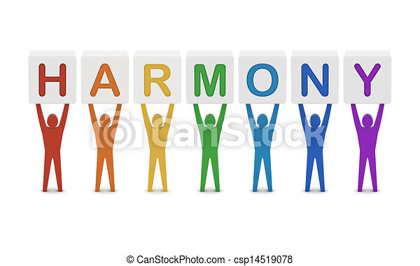 concept, mot, illustration., hommes, harmony., tenue, 3d - csp14519078