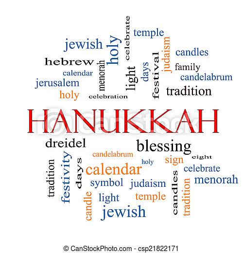 concept, mot, nuage, hanukkah - csp21822171