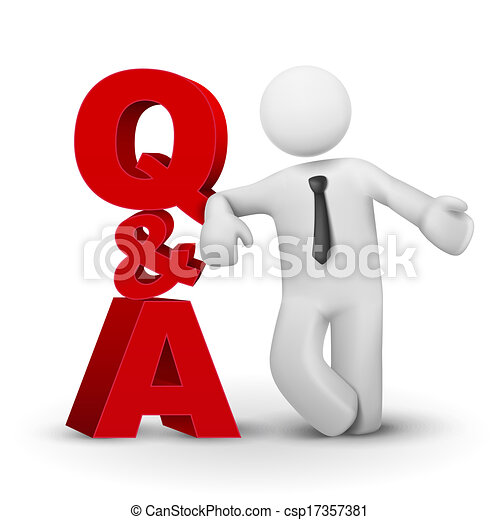 concept, mot, présentation, homme affaires, q&a, 3d - csp17357381