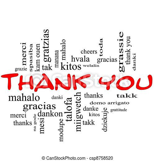 concept, mot, remercier, casquettes, nuage, vous, rouges - csp8758520