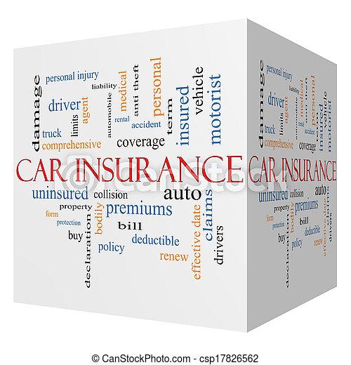 concept, mot, voiture, cube, assurance, nuage, 3d - csp17826562
