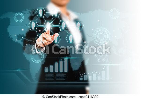concept, netwerk, scherm, sociaal, beroeren, technologie - csp40416399