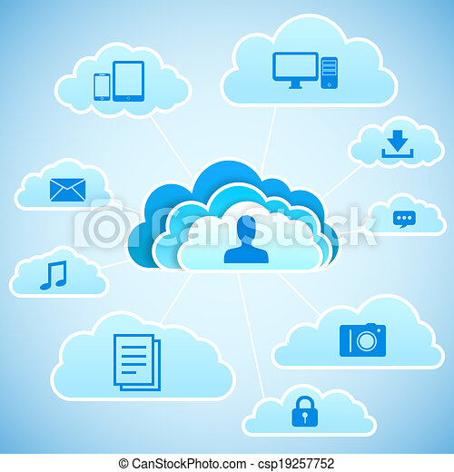 concept, nuage, calculer - csp19257752