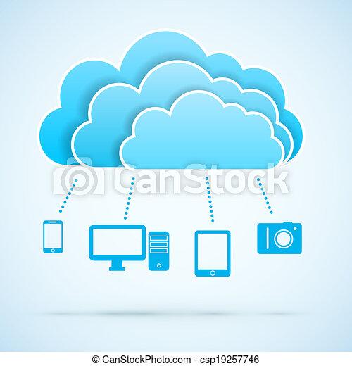 concept, nuage, calculer - csp19257746