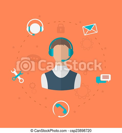Concept of 24h online available customer support, help desk male - csp23898720