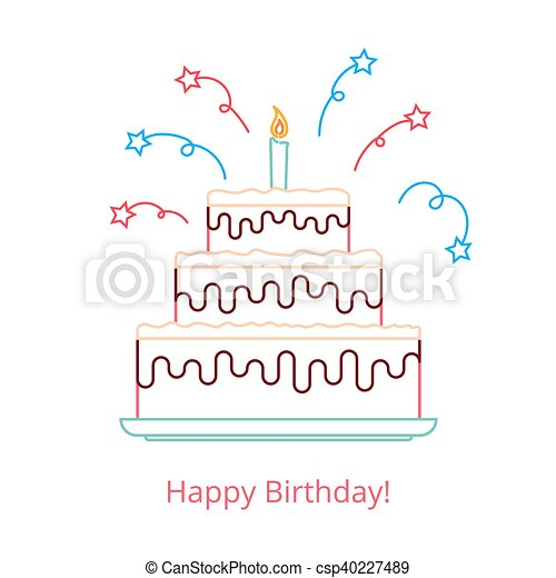 Concept of a large birthday cake with a candle and candy with the words happy birthday. Vector illustration in a linear style isolated on white background. - csp40227489
