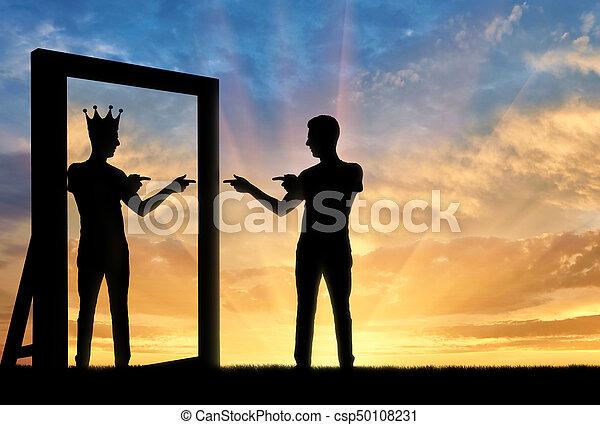 Concept of a narcissistic and egoistic man - csp50108231