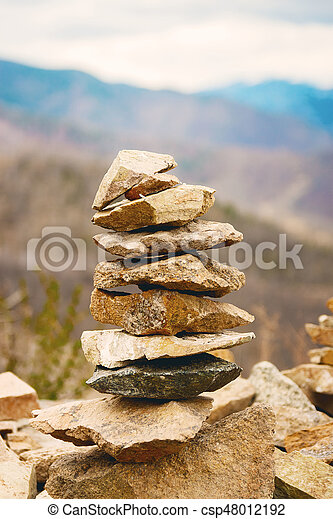 Concept Of Balance And Harmony Rocks On The Coast In The Nature